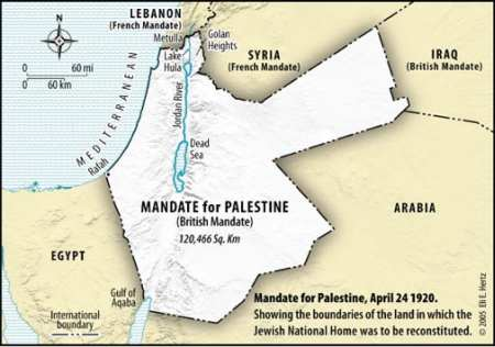 Map of the 1920 British Mandate for Palestine
