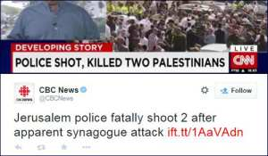 Distorted headlines about terror attack in Israel